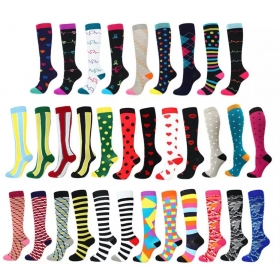 Graduated Medical custom Compression Socks for Women Men 20-30mmhg Knee High Fun Stockings for Running Sports Athletic Nurse